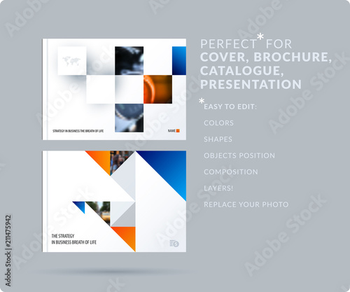 Fototapeta Square design presentation template with colourful rectangles shadows. Abstract vector set of modern horizontal banners obraz na płótnie