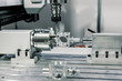 canvas print picture - Precision milling CNC machine tool makes part.
