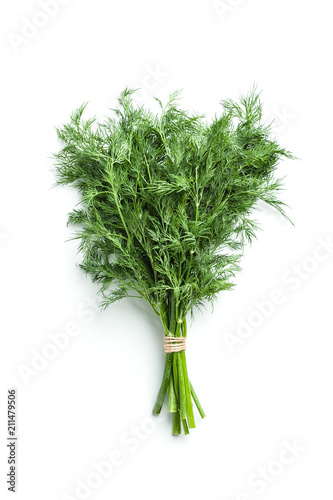 Garden Poster Plant Fresh dill isolated on white background..