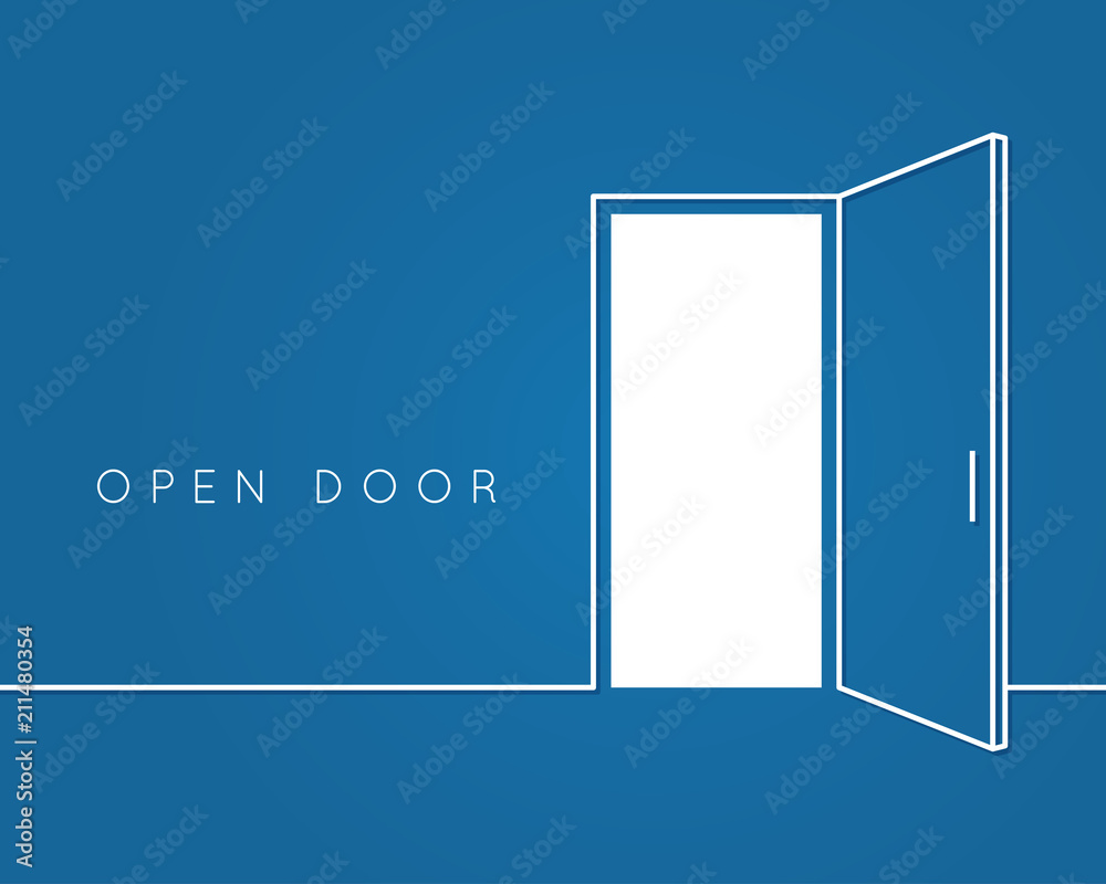 Fototapety, obrazy: Open door line concept. Blue room logo vector background