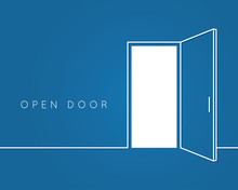 Open Door Line Concept. Blue R...