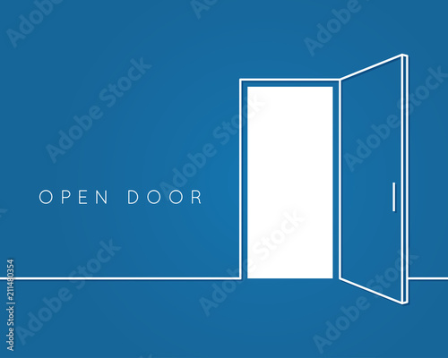 Open door line concept. Blue room logo vector background Wallpaper Mural