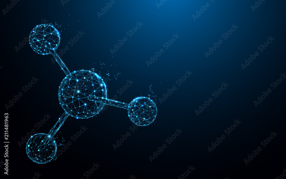 Fototapeta Molecular structure form lines, triangles and particle style design. Illustration vector