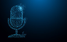 Microphone Form Lines, Triangles And Particle Style Design. Illustration Vector