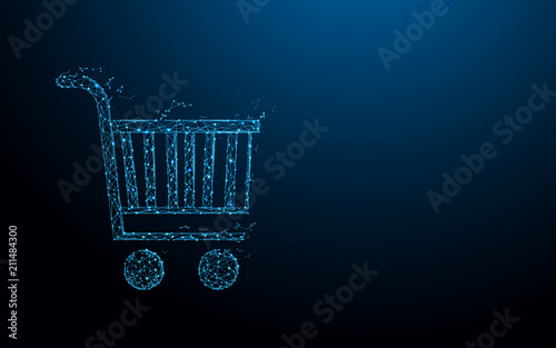 Shopping Cart form lines, triangles and particle style design Fototapeta