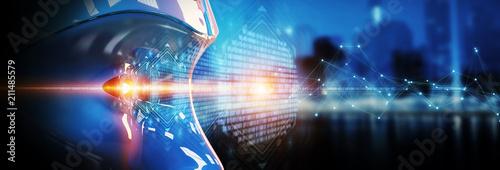 Fotografie, Obraz  Cyborg head using artificial intelligence to create digital interface 3D renderi