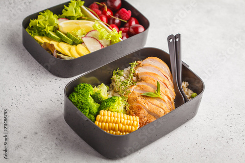 Poster Assortiment Healthy meal prep containers with grilled chicken with fruits, berries, rice and vegetables. Takeaway healthy food.