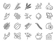 Spices And Herbs Icon Set. Inc...