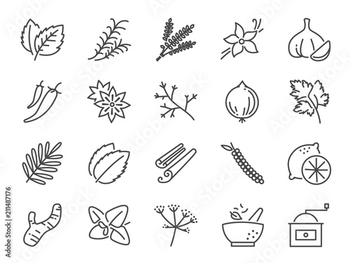 Spices and herbs icon set Fototapet