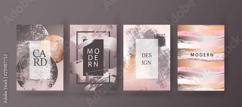 Obraz Gold, pink brochure, flyer, invitation, card - fototapety do salonu