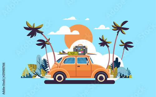 Stampa su Tela retro car with luggage on roof tropical sunset beach surfing vintage greeting ca