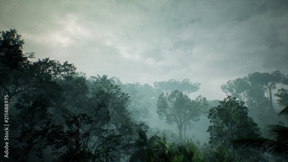 Widok timelapse nad piękną bujną zieloną dżunglą. Renderowanie 3D.