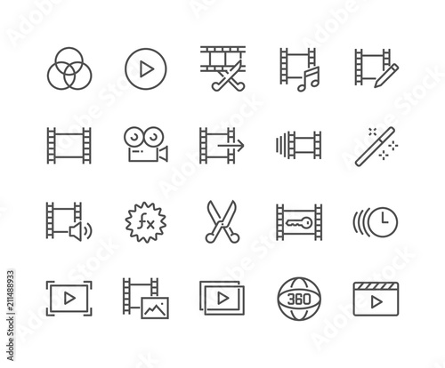 Obraz Simple Set of Video Editing Related Vector Line Icons. Contains such Icons as Filters, Frame Rate and more. Editable Stroke. 48x48 Pixel Perfect. - fototapety do salonu