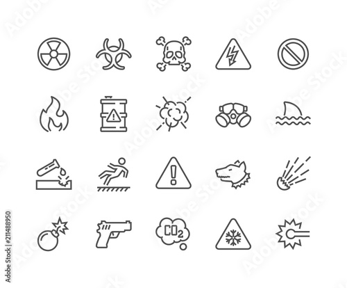 Valokuva Simple Set of Warnings Related Vector Line Icons