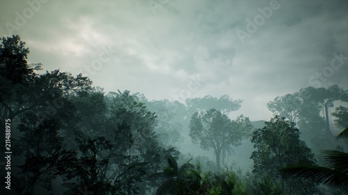Timelapse view over a beautiful lush green jungle. 3D rendering. Fototapet