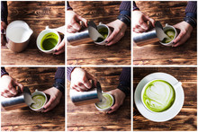 Set Of Making Matcha Tea Cappuccino