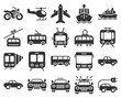 Monochromatic icons set of some transport facilities