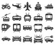 Monochromatic pixel icons set of some transport facilities