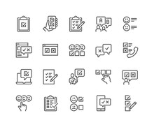 Simple Set Of Survey Related Vector Line Icons. Contains Such Icons As Emotional Opinion, Rating, Checklist And More. Editable Stroke. 48x48 Pixel Perfect.