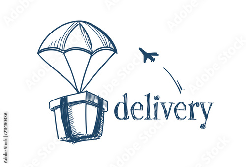 Fotografia package with parachute fast delivery service concept free air shipping flying pl