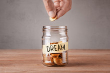 Dream. Glass Jar With Coins An...