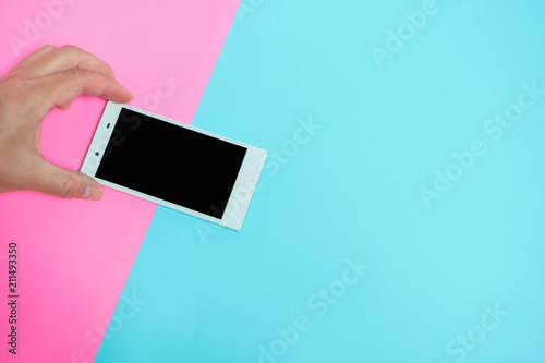 Fotografie, Obraz  One person using a smartphone