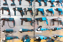 Hand-held Power Tools On Stand In Store