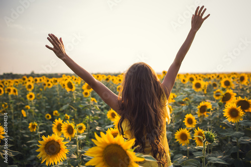 In de dag Zonnebloem Beautiful woman with long hair hands up in a field of sunflowers in the summer