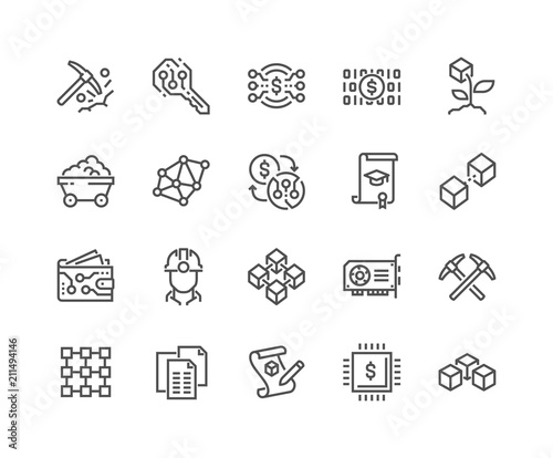 Obraz na plátně Simple Set of Blockchain Related Vector Line Icons