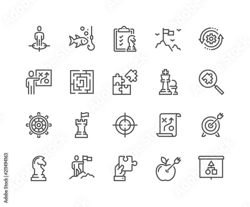 Fotografie, Obraz  Simple Set of Business Strategy Related Vector Line Icons