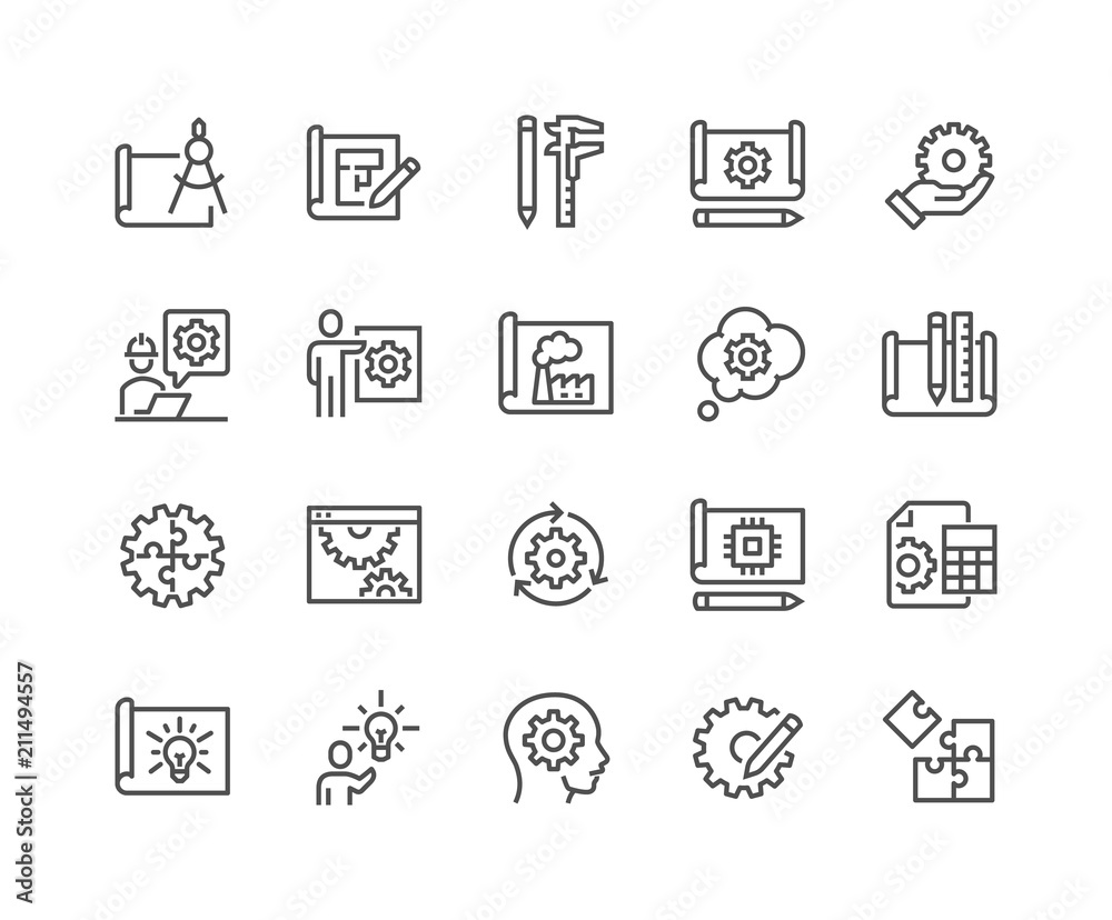 Fototapeta Simple Set of Engineering Design Related Vector Line Icons. 