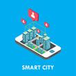 Smart City Isometric Vector Template Design Illustration