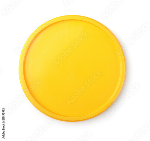 Top view of yellow plastic lid