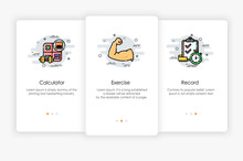 Onboarding Screens Design In Healthy Concept. Modern And Simplified Vector Illustration, Template For Mobile Apps.