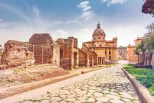 The Forum Roman In Rome. Roman Ruins In Rome, Italy