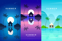 Vector Banners Set With Summer Resort