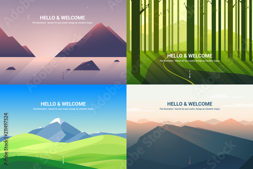 Foto  Polygonal landscape. Background illustration