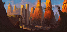 Ruined Fortress In A Rocky Desert Being Overrun By A Dangerous Evil Character - Digital Fantasy Painting