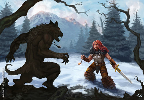 Werewolf and warrior in a snow covered mountain landscape ready to fight - Digit Canvas Print