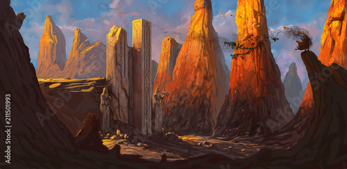 In de dag Chocoladebruin Ruined fortress in a rocky desert being overrun by a dangerous evil character - digital fantasy painting