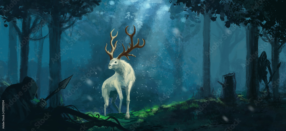 Fototapeta Fantasy elk creature hunted by evil goblin creatures in a magical forest  - Digital fantasy painting
