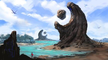 Traveler hiking into a mysterious coastal environment - digital fantasy painting