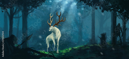 Fantasy elk creature hunted by evil goblin creatures in a magical forest  - Digi Fototapeta