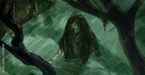 top down view of a voodoo witch wading through a swamp river - Digital fantasy p Canvas Print