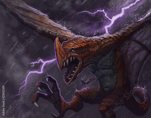 Photo  Dragon flying in a thunderstorm screaming in anger  - Digital fantasy painting