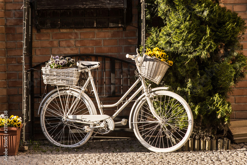 Poster Fiets Old decorated bicycle outdoor