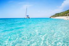Sailboat In The Sea, Active Vacation In Mediterranean Sea, Lefkada Island, Greece