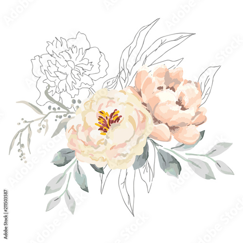 Blush creamy peony flowers and gray leaves with graphic elements Tablou Canvas