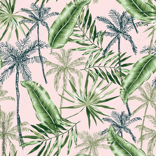 zielony-banan-palmy-liscie-z-rumieniec-rozowy-tlo-wektorowy-bezszwowy-wzor-ilustracja-lisci-tropikalnej-dzungli-egzotyczny