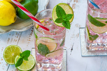 Pink Rose Lemonade With Lime And Fresh Mint. Refreshing Summer Non-alcoholic Drink.